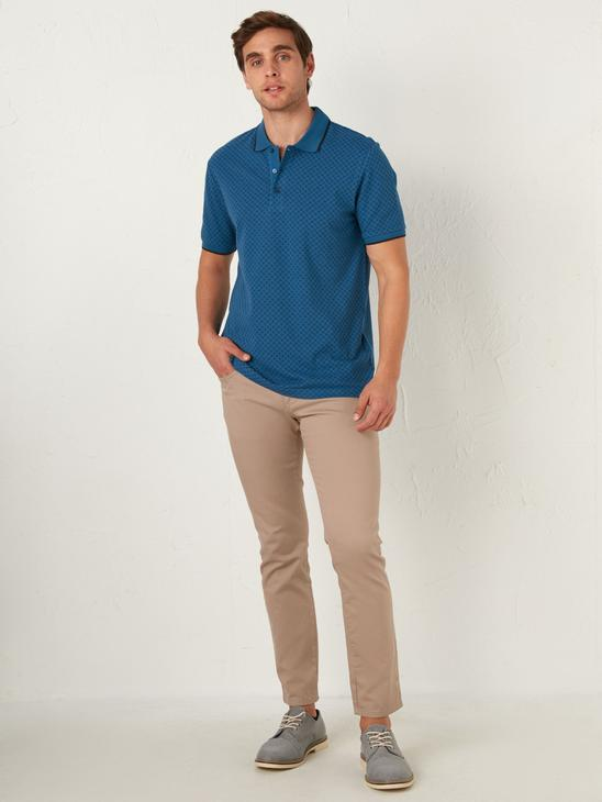 NAVY - Polo Neck and Short Sleeve Cotton T-Shirt - 0SQ118Z8