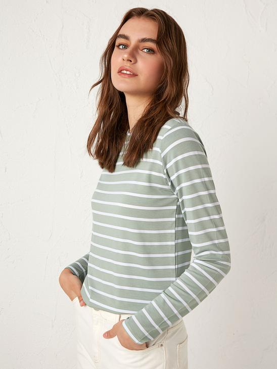GREEN - Striped Long Sleeve T-Shirt - 0WDR04Z8