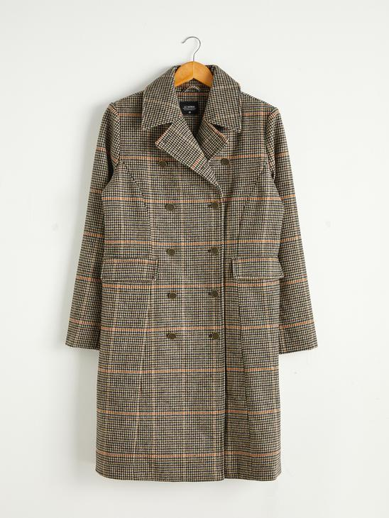 BROWN - Collar Detailed Plaid Coat - 0W1790Z8