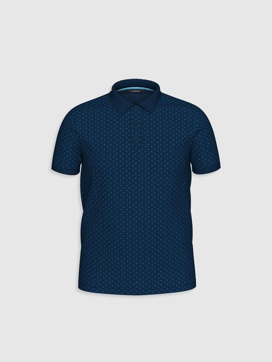 NAVY - Polo Neck and Short Sleeve Cotton T-Shirt - 0SM146Z8