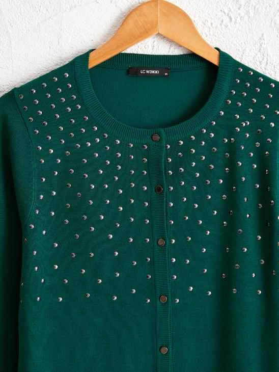 GREEN - Bead Embroidery Tricot Cardigan - 0W4368Z8