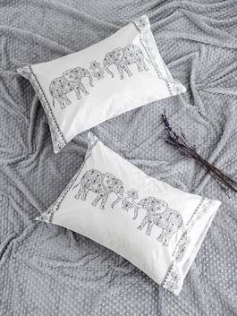 GREY - Ethnic Printed Pillow Cover 2-Piece