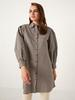 BLACK - Neck Detailed Chequered Tunic - 0WEI64Z8