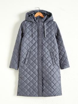 BLUE - Quilted Long Jacket