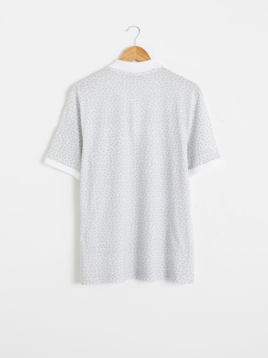 WHITE - Polo Neck Short Sleeve Combed Cotton T-Shirt - 0SQ127Z8