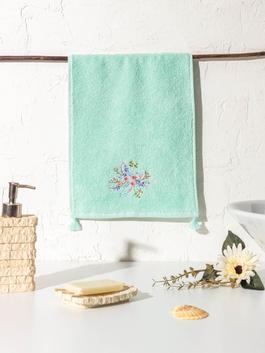GREEN - Flower Embroidery Hand Towel
