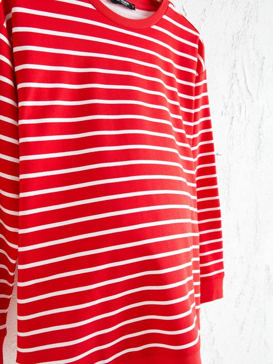 RED - Striped Maternity Hoodie - 0WGD24Z8