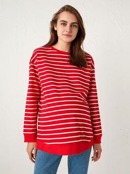 RED - Striped Maternity Hoodie