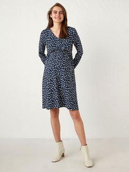 NAVY - Floral Viscose Maternity Dress