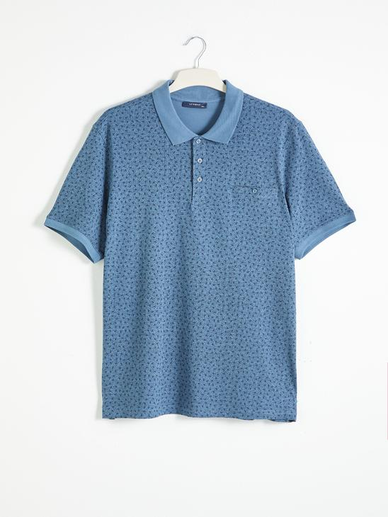BLUE - Polo Neck Short Sleeve Combed Cotton T-Shirt - 0SQ127Z8