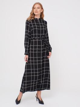 BLACK - Belted Chequered Dress