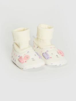 BEIGE - Baby Girl's House Shoes with Socks