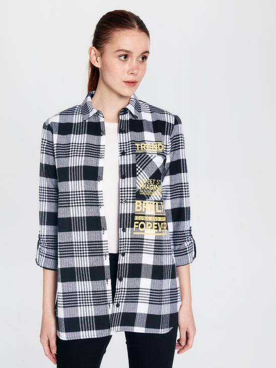 BLACK - Letter Printed Cotton Chequered Shirt Mother and Daughter Matching - 9WR407Z4