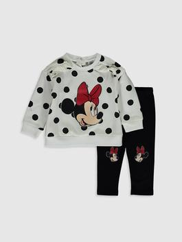 WHITE - Baby Girl's Minnie Mouse Printed Sweatshirt and Trousers