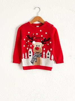 RED - Baby Boy's New Year Themed Tricot Jumper