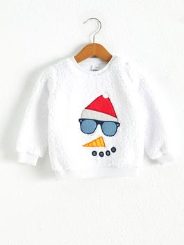 WHITE - Baby Boy Christmas Themed Sweatshirt