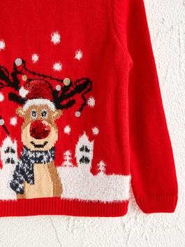 RED - Girl's New Year Themed Tricot Jumper - 0WBE15Z4