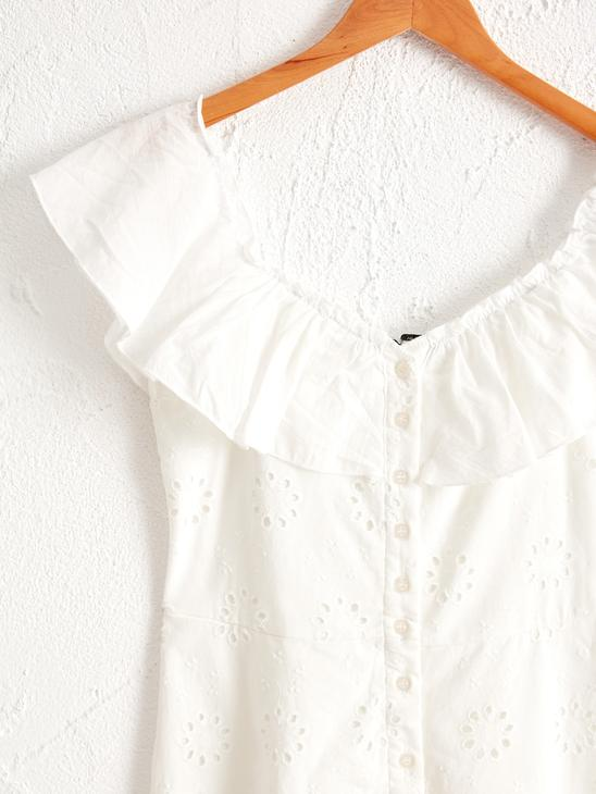 WHITE - Frilly Collared Dress - 0SBD21Z8