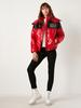 RED - Printed High Collar Puffer Coat - 0WHF58Z8