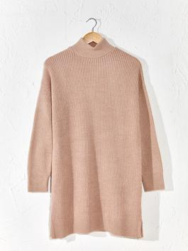 BEIGE - Loose Fit Neckband Tunic