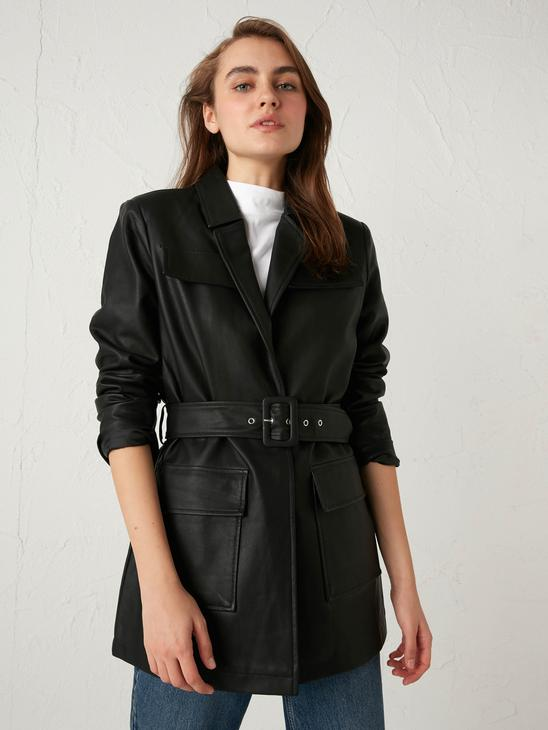 BLACK - Faux Leather Belted Short Coat - S11249Z8
