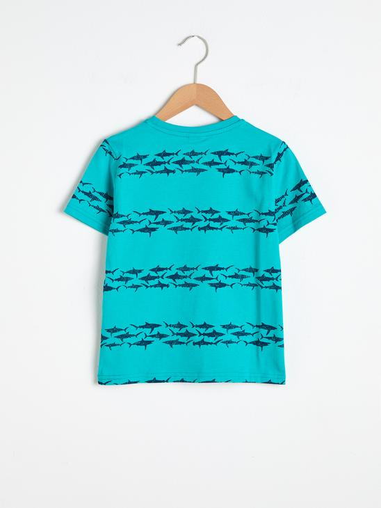 GREEN - Boy's Printed Cotton T-Shirt - S13478Z4