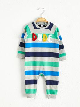 GREY - Baby Boy's Striped Jumpsuit