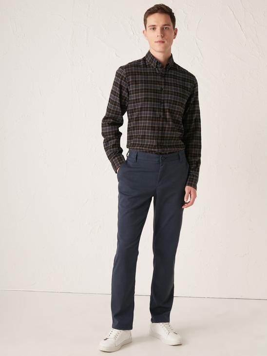 NAVY - Regular Fit Long Sleeve Chequered Gabardine Shirt - 0WJ674Z8