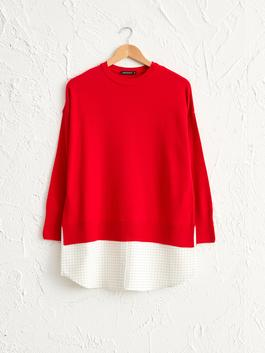 RED - Checkered Fabric Detailed Tricot Tunic