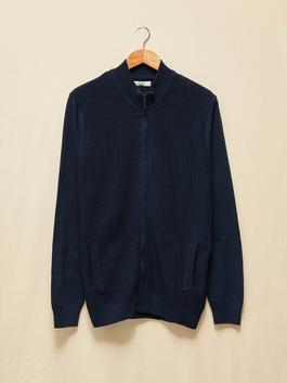 NAVY - Nature Friendly High Collar Thin Knitwear Cardigan