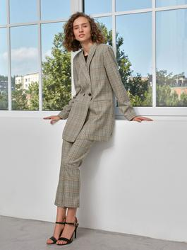 BROWN - High Waist Poly Viscose Trousers