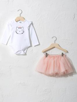 WHITE - 2-pack Baby Girl's Set