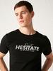 BLACK - Crew Neck Printed Combed Cotton T-Shirt - S13040Z8