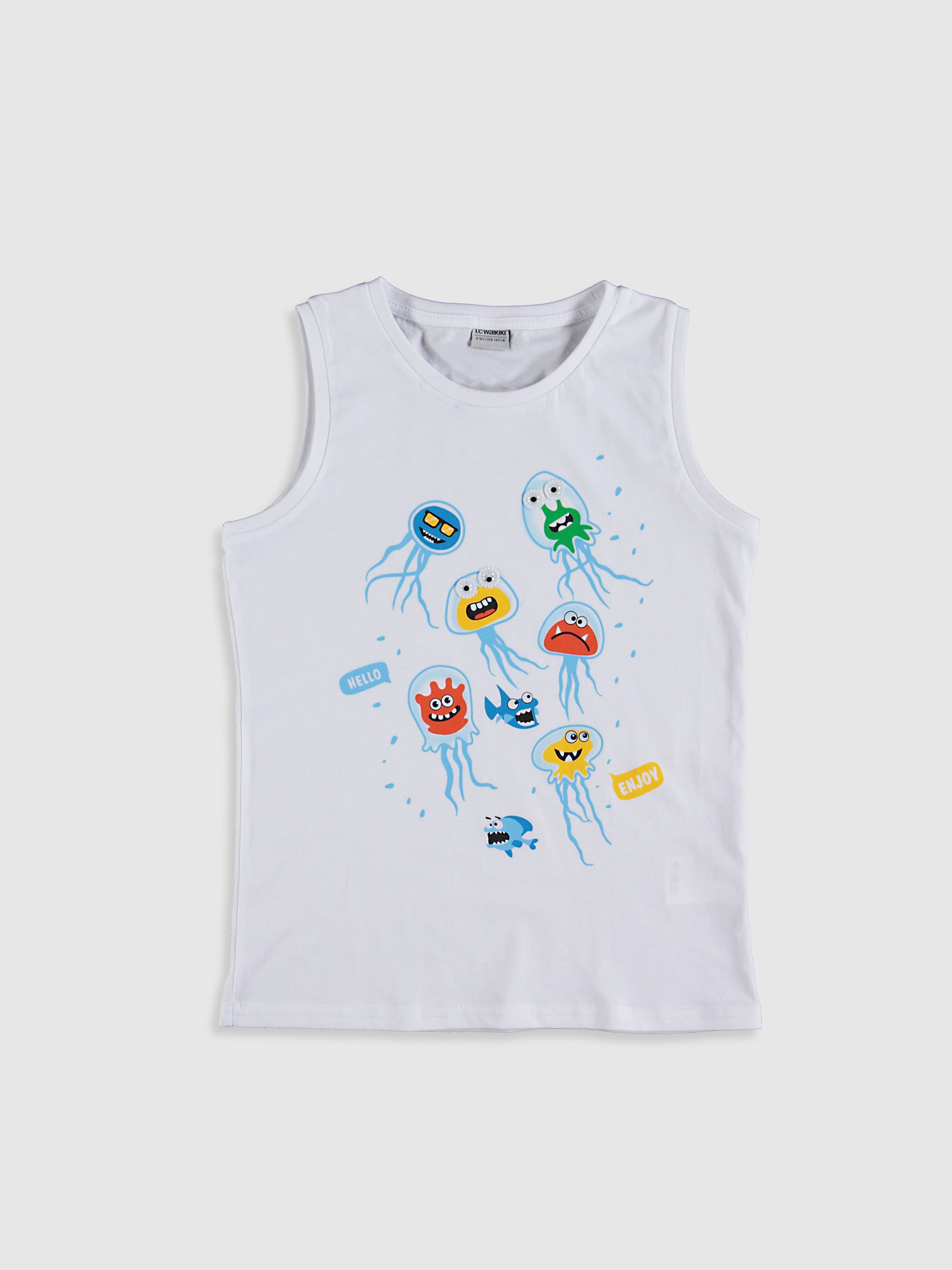 WHITE - Boy's Printed Cotton Tank Top - 0SB592Z4
