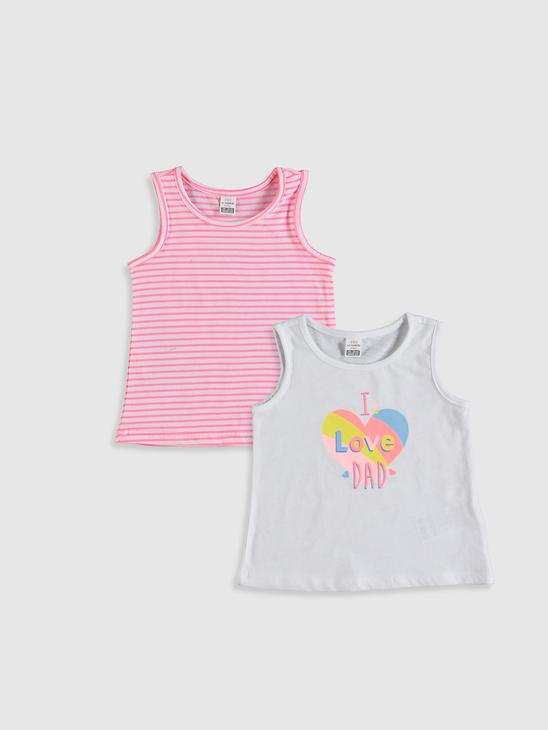 WHITE - 2-pack Baby Girl's Printed Tank Top - 0SD748Z1
