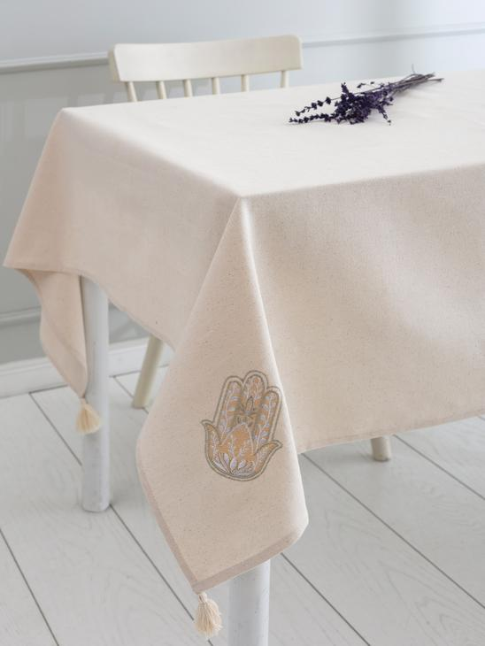 BEIGE - Embroidered Tablecloth made of Buldan Fabric - 0SD968Z8