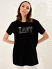 BLACK - Bright Letter Printed Cotton T-Shirt Family Matching - 0SE180Z4