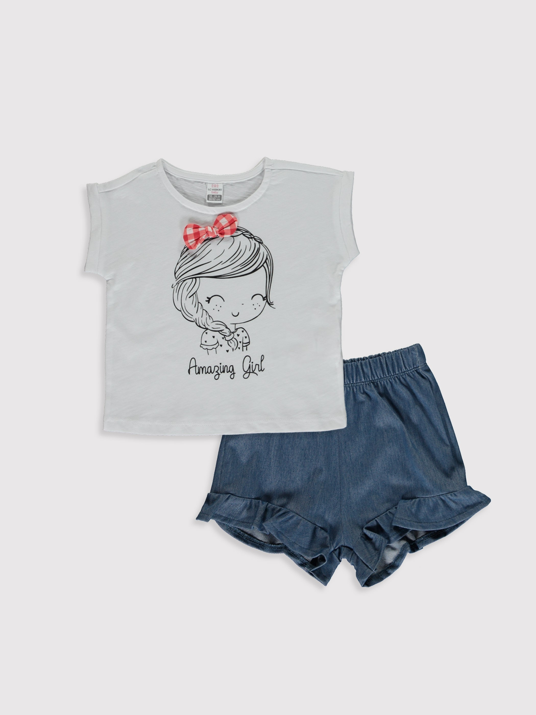 WHITE - Baby Girl's Printed T-Shirt and Shorts - 0SD312Z1