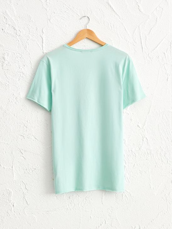 TURQUOISE - Crew Neck Printed Combed Cotton T-Shirt - 0SE335Z8