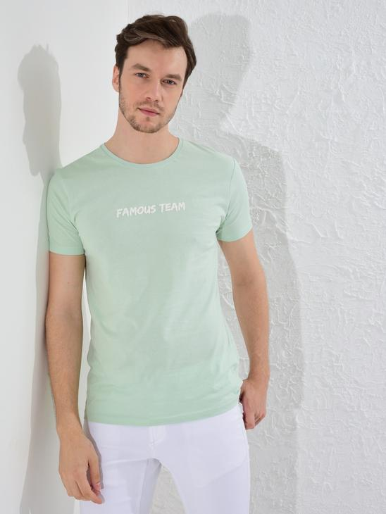 GREEN - Crew Neck Printed Combed Cotton T-Shirt - 0SE315Z8