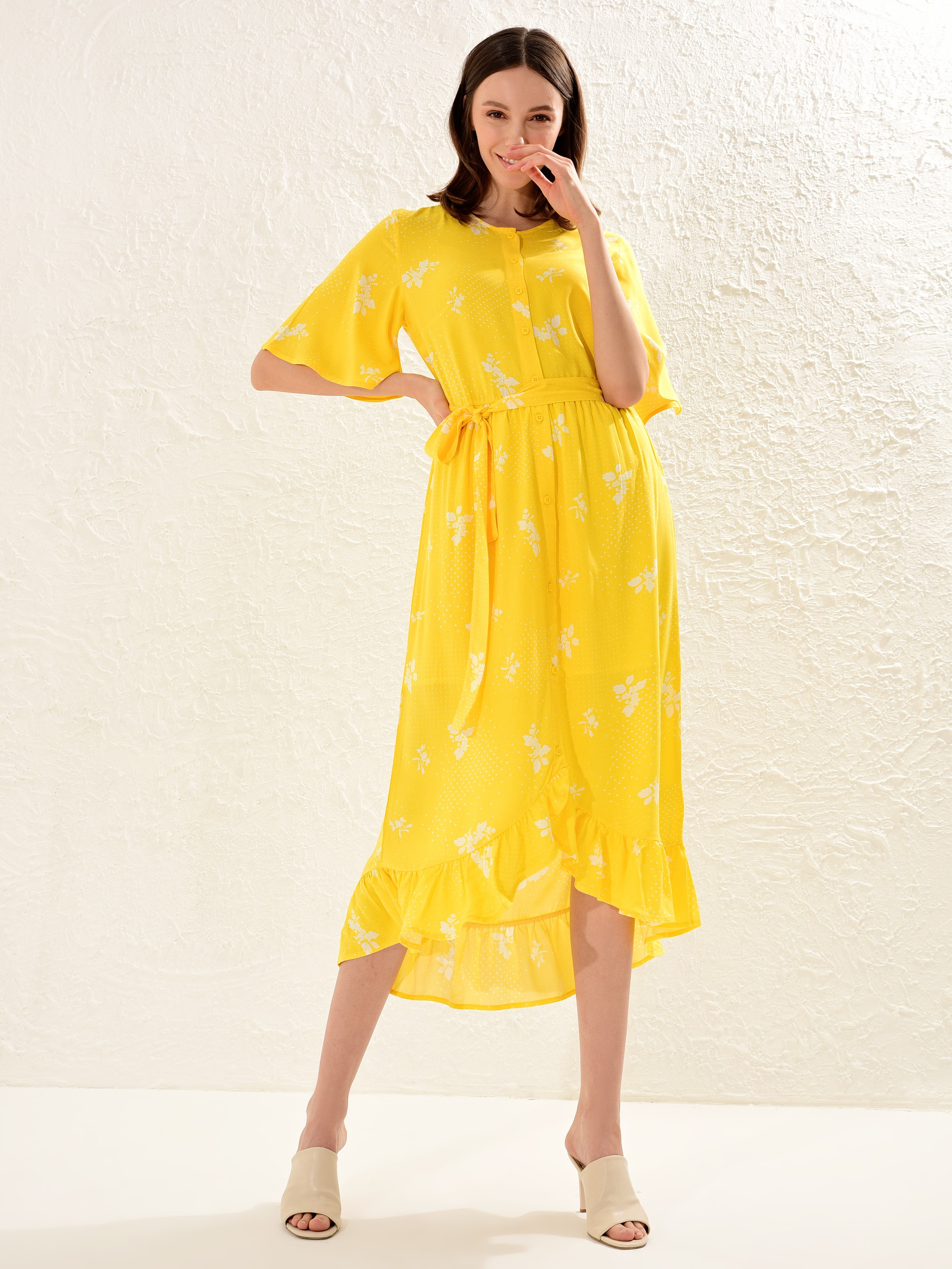 YELLOW - Waistband Figured Viscose Dress Mother and Daughter Matching - 0SE707Z4