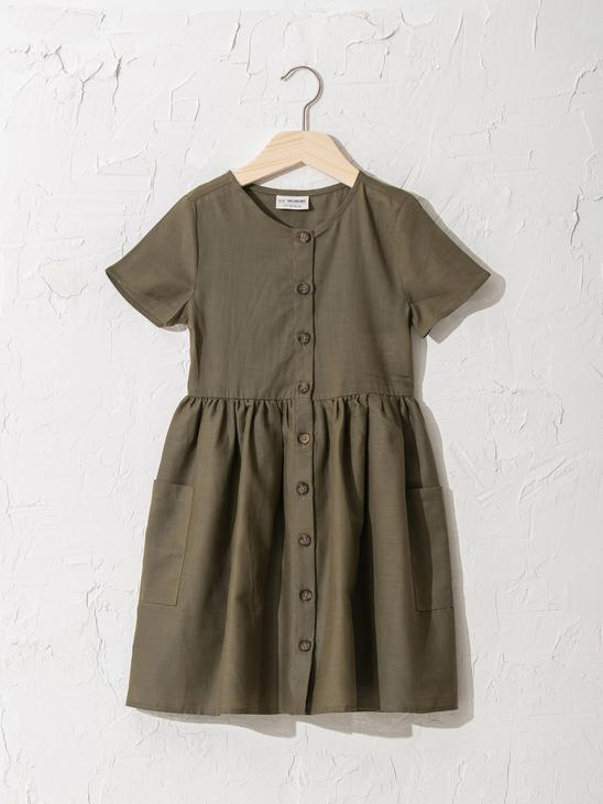 KHAKI - Girl's Button-Down Cotton Dress - 0SE705Z4