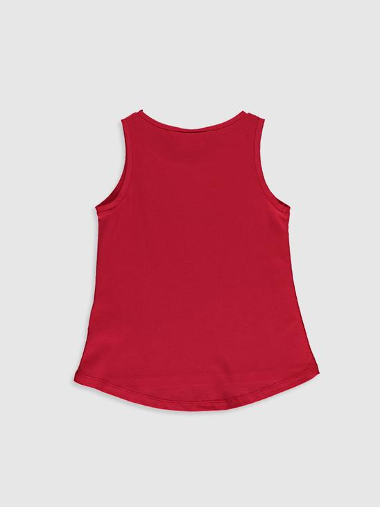 RED - Girl's Printed Cotton Tank Top - 0SE586Z4
