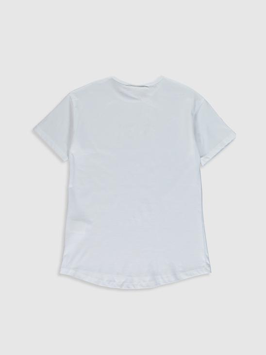 WHITE - Girl's Printed Cotton T-Shirt - 0SE888Z4