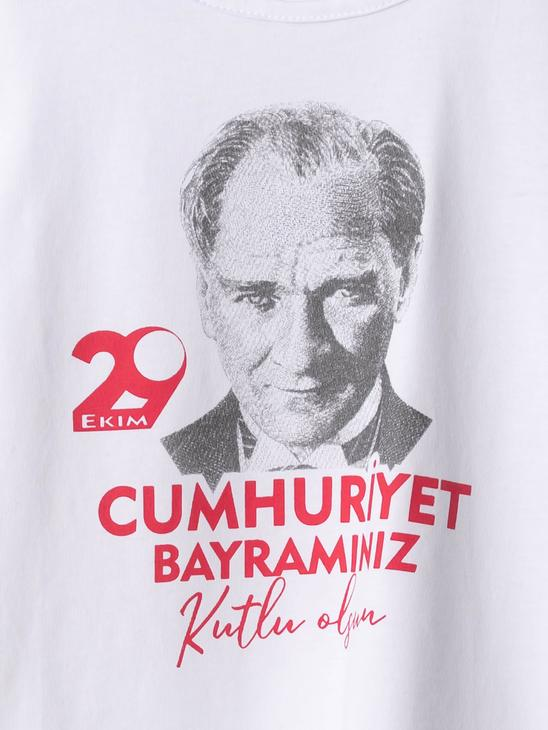 WHITE - Girl's Ataturk Printed Cotton T-Shirt - 0W4032Z4