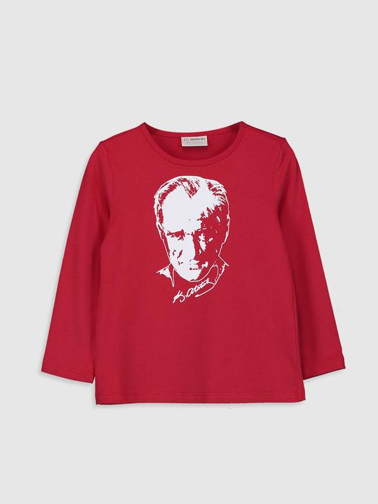RED - Girl's Ataturk Printed Cotton T-Shirt - 0W4028Z4