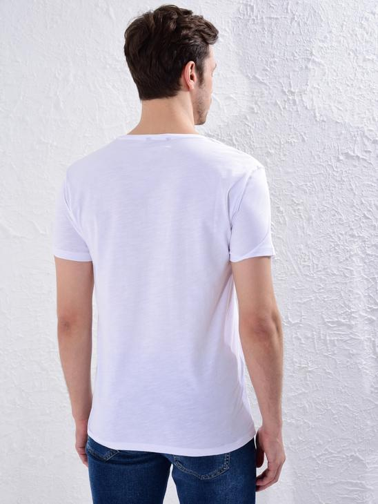 WHITE - Crew Neck Printed Combed Cotton T-Shirt - 0W4496Z8