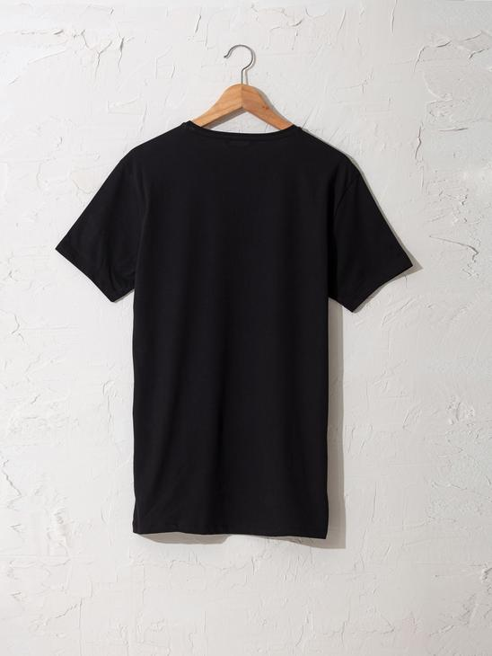 BLACK - Crew Neck Printed Combed Cotton T-Shirt - 0W4470Z8