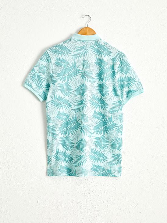 TURQUOISE - Printed Polo Neck Short Sleeve Pique T-Shirt - 0SP992Z8