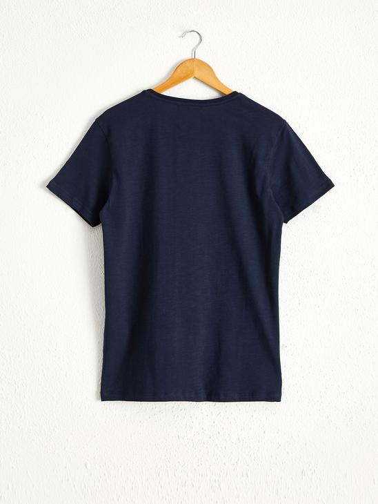 NAVY - Crew Neck Printed Combed Cotton T-Shirt - 0W4500Z8